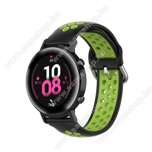 Okosóra szíj - légáteresztő, sportoláshoz, szilikon - 130mm + 86mm hosszú, 20mm széles, 140mm-től 220mm-es méretű csuklóig ajánlott - FEKETE / ZÖLD - SAMSUNG Galaxy Watch 42mm / Amazfit GTS / HUAWEI Watch GT 2 42mm / Galaxy Watch Active / Active 2