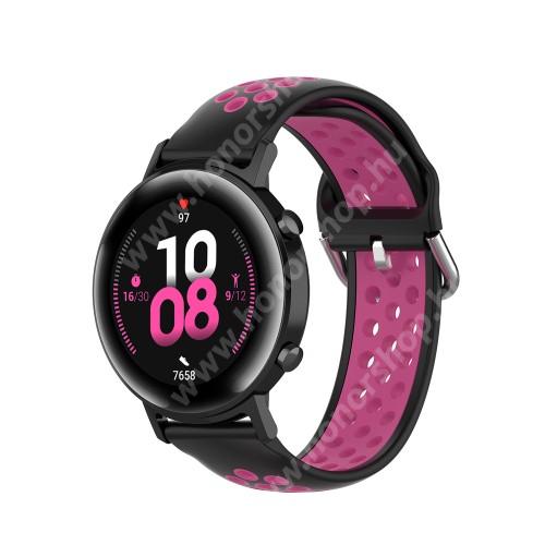 HUAWEI Watch GT 2 42mm Okosóra szíj - légáteresztő, sportoláshoz, szilikon - 130mm + 86mm hosszú, 20mm széles, 140mm-től 220mm-es méretű csuklóig ajánlott - FEKETE / RÓZSASZÍN - SAMSUNG Galaxy Watch 42mm / Amazfit GTS / HUAWEI Watch GT 2 42mm / Galaxy Watch Active / Active 2