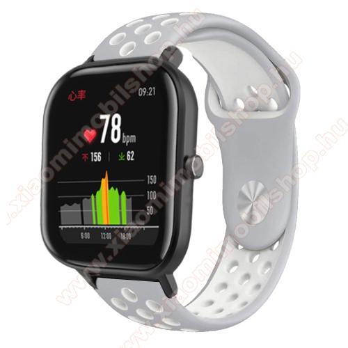 Okosóra szíj - légáteresztő, sportoláshoz, szilikon - 85mm + 139mm hosszú, 20mm széles - SZÜRKE / FEHÉR - SAMSUNG Galaxy Watch 42mm / Xiaomi Amazfit GTS / SAMSUNG Gear S2 / HUAWEI Watch GT 2 42mm / Galaxy Watch Active / Active 2
