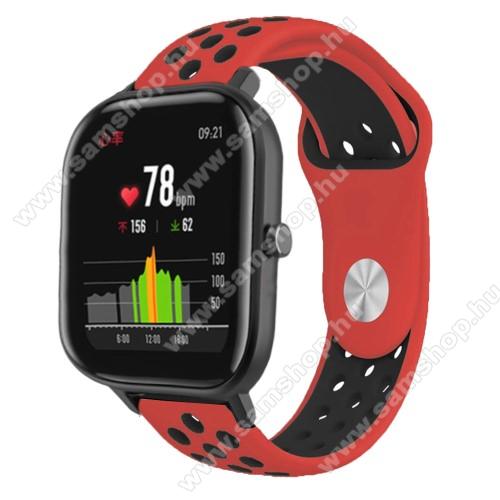 Okosóra szíj - légáteresztő, sportoláshoz, szilikon - 85mm + 139mm hosszú, 20mm széles - PIROS / FEKETE - SAMSUNG Galaxy Watch 42mm / Xiaomi Amazfit GTS / SAMSUNG Gear S2 / HUAWEI Watch GT 2 42mm / Galaxy Watch Active / Active 2