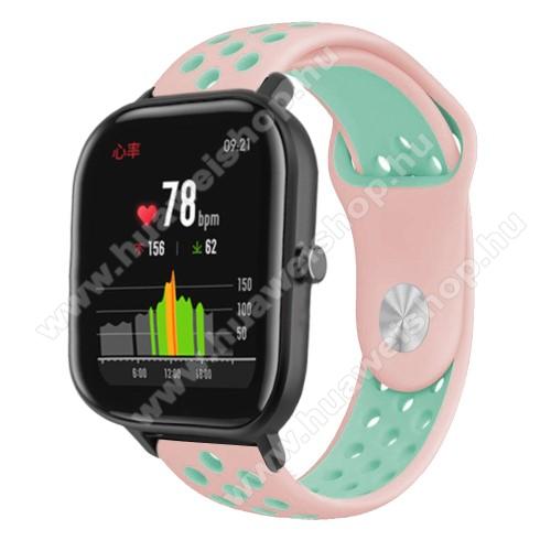 Okosóra szíj - légáteresztő, sportoláshoz, szilikon - 85mm + 139mm hosszú, 20mm széles - RÓZSASZÍN / CYAN - SAMSUNG Galaxy Watch 42mm / Xiaomi Amazfit GTS / SAMSUNG Gear S2 / HUAWEI Watch GT 2 42mm / Galaxy Watch Active / Active 2