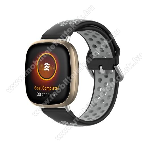 Fitbit Versa 3Okosóra szíj - légáteresztő, sportoláshoz, szilikon, 93+135mm hosszú, 140-180mm-es méretű csuklóig ajánlott - FEKETE / SZÜRKE - Fitbit Versa 3 / Fitbit Sense