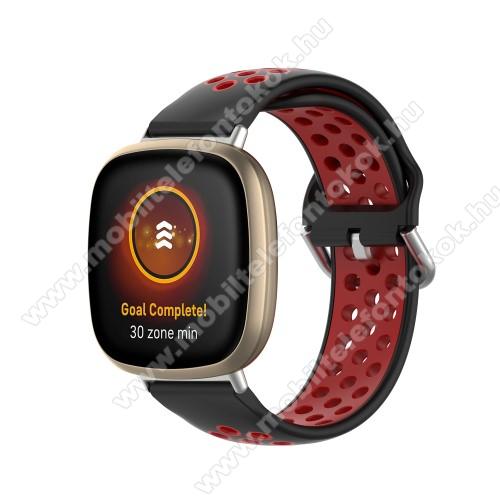 Fitbit Versa 3Okosóra szíj - légáteresztő, sportoláshoz, szilikon, 93+135mm hosszú, 140-180mm-es méretű csuklóig ajánlott - FEKETE / PIROS - Fitbit Versa 3 / Fitbit Sense
