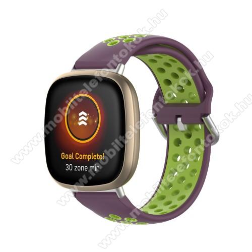Fitbit Versa 3Okosóra szíj - légáteresztő, sportoláshoz, szilikon, 93+135mm hosszú, 140-180mm-es méretű csuklóig ajánlott - LILA / ZÖLD - Fitbit Versa 3 / Fitbit Sense
