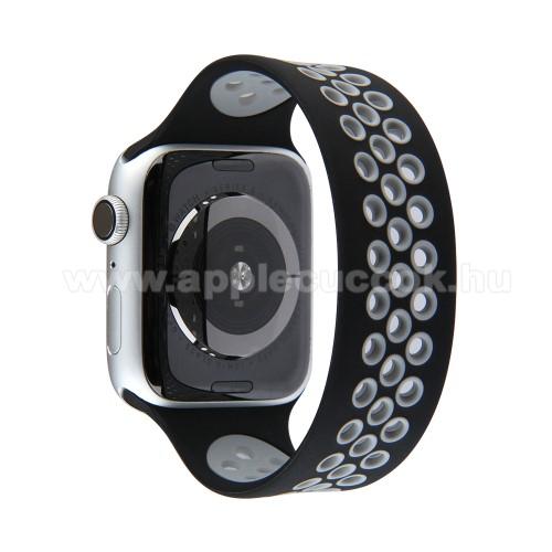 Okosóra szíj - légáteresztő, sportoláshoz, szilikon - 155mm hosszú - FEKETE / SZÜRKE - APPLE Watch Series 3/2/1 42mm / Watch Series 4/5/6 44mm / Watch SE 44mm