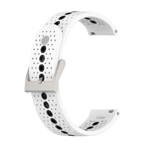 Okosóra szíj - légáteresztő, sportoláshoz, szilikon - 112mm + 91mm hosszú, 22mm széles - FEKETE / FEHÉR - SAMSUNG Galaxy Watch 46mm / Watch GT2 46mm / Watch GT 2e / Galaxy Watch3 45mm / Honor MagicWatch 2 46mm