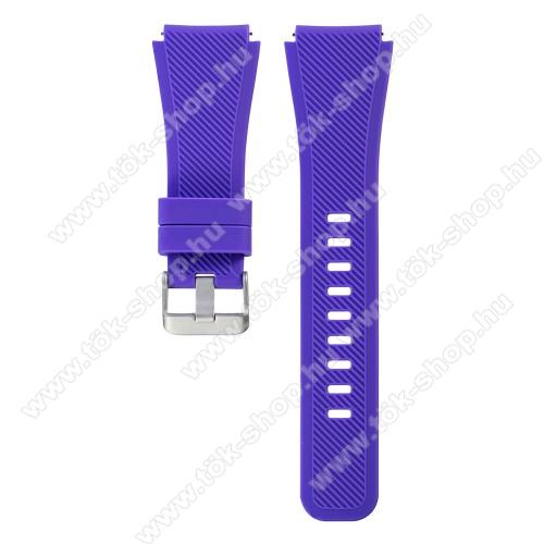 Okosóra szíj - LILA - szilikon, 19cm hosszú, 22mm széles - SAMSUNG Galaxy Watch 46mm / SAMSUNG Gear S3 Classic / SAMSUNG Gear S3 Frontier