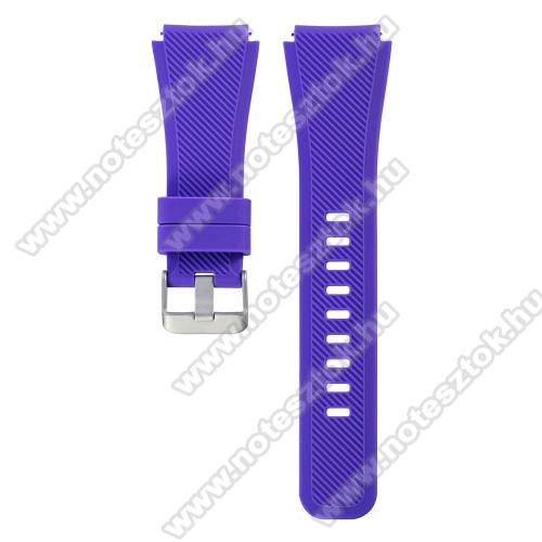 HUAWEI Honor MagicWatch 2 46mmOkosóra szíj - LILA - szilikon, 19cm hosszú, 22mm széles - SAMSUNG Galaxy Watch 46mm / SAMSUNG Gear S3 Classic / SAMSUNG Gear S3 Frontier