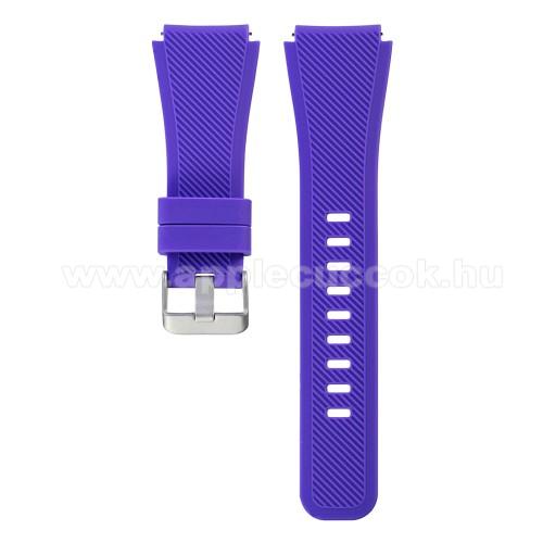 Okosóra szíj - LILA - szilikon, 19cm hosszú - SAMSUNG Galaxy Watch 46mm / SAMSUNG Gear S3 Classic / SAMSUNG Gear S3 Frontier