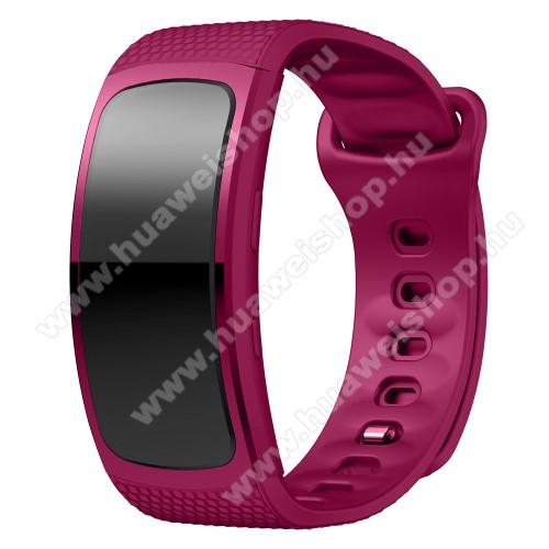 Okosóra szíj - LILA - szilikon, L-es méret, 90mm+123mm hosszú, 150mm-től 213mm-es méretű csuklóig ajánlott - SAMSUNG Gear Fit 2 SM-R360 / Samsung Gear Fit 2 Pro SM-R365