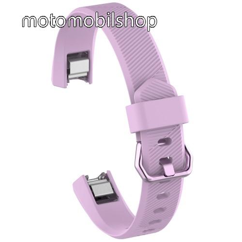 Okosóra szíj - LILA - szilikon, Twill mintás, 93 + 70mm hosszú, 15mm széles - Fitbit Alta HR