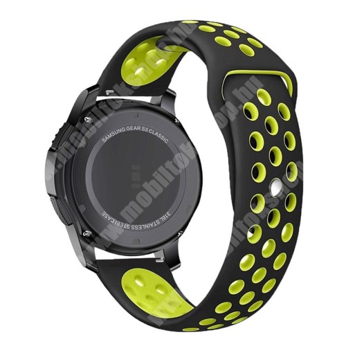Okosóra szíj lyukacsos, légáteresztő - 110mm + 95mm hosszú, 22mm széles - ZÖLD / FEKETE - SAMSUNG Galaxy Watch 46mm / SAMSUNG Gear S3 Classic / SAMSUNG Gear S3 Frontier
