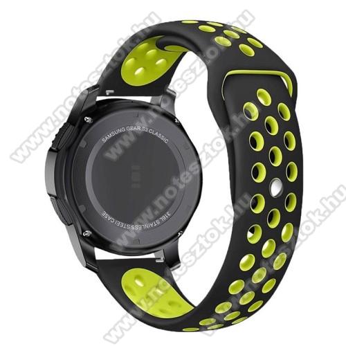 WOTCHI Smartwatch WT35BLLOkosóra szíj lyukacsos, légáteresztő - 110mm + 95mm hosszú, 22mm széles - ZÖLD / FEKETE - SAMSUNG Galaxy Watch 46mm / SAMSUNG Gear S3 Classic / SAMSUNG Gear S3 Frontier