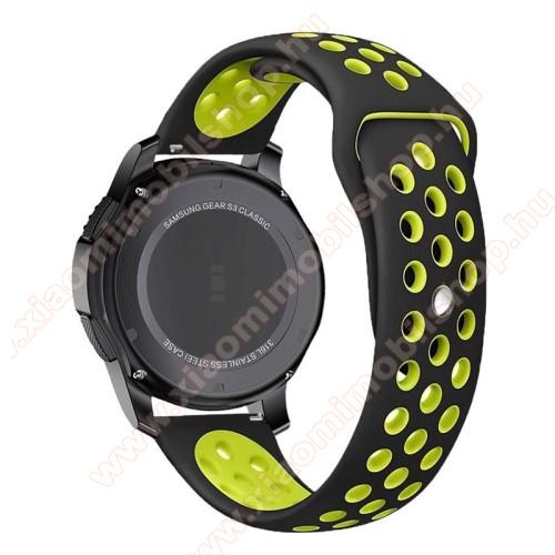 Xiaomi Watch ColorOkosóra szíj lyukacsos, légáteresztő - 110mm + 95mm hosszú, 22mm széles - ZÖLD / FEKETE - SAMSUNG Galaxy Watch 46mm / SAMSUNG Gear S3 Classic / SAMSUNG Gear S3 Frontier