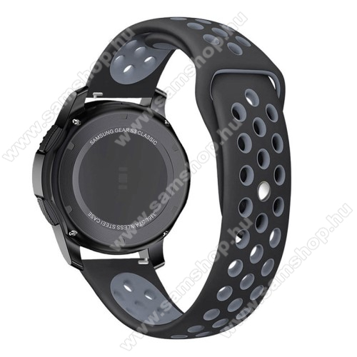 SAMSUNG SM-R770 Gear S3 ClassicOkosóra szíj lyukacsos, légáteresztő - 85mm + 83mm hosszú, 21mm széles - SZÜRKE / FEKETE - SAMSUNG Galaxy Watch 46mm / SAMSUNG Gear S3 Classic / SAMSUNG Gear S3 Frontier