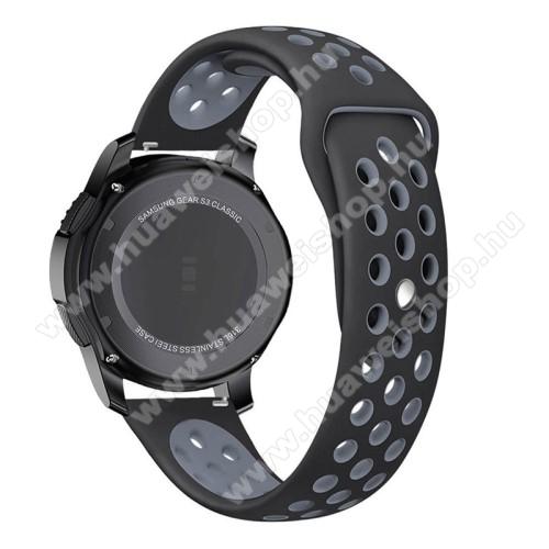 Okosóra szíj lyukacsos, légáteresztő - 85mm + 83mm hosszú, 21mm széles - SZÜRKE / FEKETE - SAMSUNG Galaxy Watch 46mm / SAMSUNG Gear S3 Classic / SAMSUNG Gear S3 Frontier