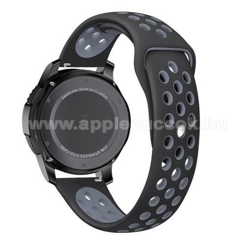 Okosóra szíj lyukacsos, légáteresztő - 85mm + 83mm hosszú, 22mm széles - SZÜRKE / FEKETE - SAMSUNG Galaxy Watch 46mm / SAMSUNG Gear S3 Classic / SAMSUNG Gear S3 Frontier