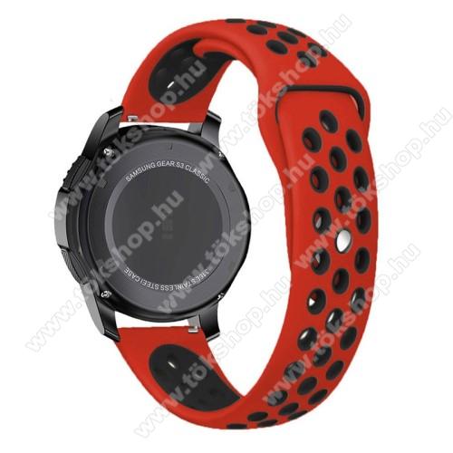 Okosóra szíj lyukacsos, légáteresztő - 85mm + 83mm hosszú, 22mm széles - PIROS / FEKETE - SAMSUNG Galaxy Watch 46mm / SAMSUNG Gear S3 Classic / SAMSUNG Gear S3 Frontier