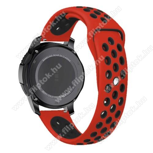 Xiaomi Watch ColorOkosóra szíj lyukacsos, légáteresztő - 85mm + 83mm hosszú, 22mm széles - PIROS / FEKETE - SAMSUNG Galaxy Watch 46mm / SAMSUNG Gear S3 Classic / SAMSUNG Gear S3 Frontier
