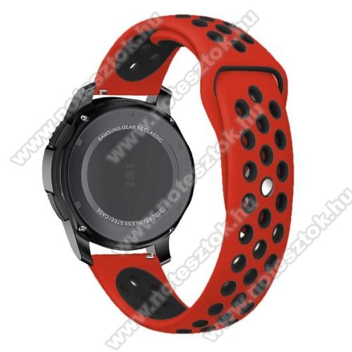 Xiaomi Mi Watch (FOR GLOBAL MARKET)Okosóra szíj lyukacsos, légáteresztő - 85mm + 83mm hosszú, 22mm széles - PIROS / FEKETE - SAMSUNG Galaxy Watch 46mm / SAMSUNG Gear S3 Classic / SAMSUNG Gear S3 Frontier