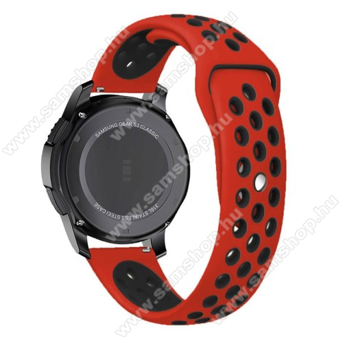 SAMSUNG SM-R380 Gear 2Okosóra szíj lyukacsos, légáteresztő - 85mm + 83mm hosszú, 22mm széles - PIROS / FEKETE - SAMSUNG Galaxy Watch 46mm / SAMSUNG Gear S3 Classic / SAMSUNG Gear S3 Frontier