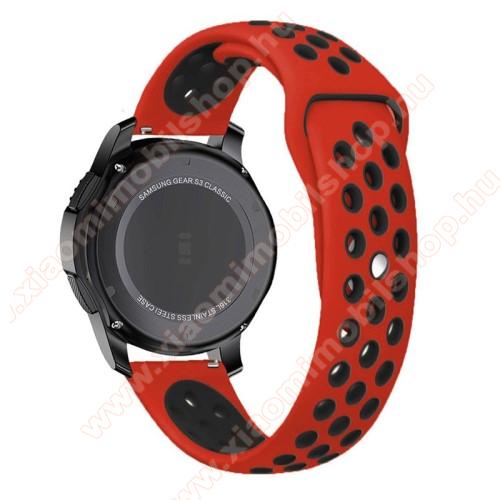 Xiaomi Amazfit 2Okosóra szíj lyukacsos, légáteresztő - 85mm + 83mm hosszú, 22mm széles - PIROS / FEKETE - SAMSUNG Galaxy Watch 46mm / SAMSUNG Gear S3 Classic / SAMSUNG Gear S3 Frontier