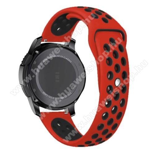 HUAWEI Watch 2 ProOkosóra szíj lyukacsos, légáteresztő - 85mm + 83mm hosszú, 22mm széles - PIROS / FEKETE - SAMSUNG Galaxy Watch 46mm / SAMSUNG Gear S3 Classic / SAMSUNG Gear S3 Frontier