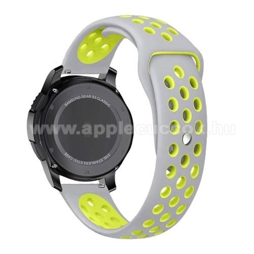 Okosóra szíj lyukacsos, légáteresztő - 85mm + 83mm hosszú, 22mm széles - SZÜRKE / ZÖLD - SAMSUNG Galaxy Watch 46mm / SAMSUNG Gear S3 Classic / SAMSUNG Gear S3 Frontier