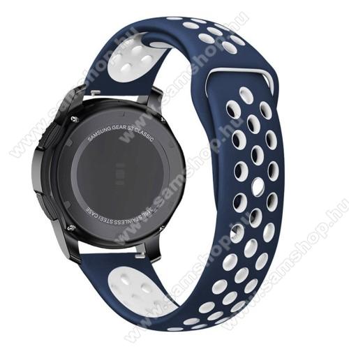 SAMSUNG SM-R770 Gear S3 ClassicOkosóra szíj lyukacsos, légáteresztő - FEHÉR / KÉK - 85mm + 83mm hosszú, 21mm széles -  SAMSUNG Galaxy Watch 46mm / SAMSUNG Gear S3 Classic / SAMSUNG Gear S3 Frontier