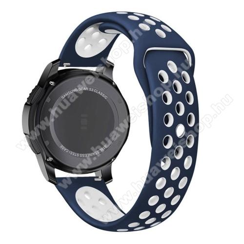 Okosóra szíj lyukacsos, légáteresztő - FEHÉR / KÉK - 85mm + 83mm hosszú, 21mm széles -  SAMSUNG Galaxy Watch 46mm / SAMSUNG Gear S3 Classic / SAMSUNG Gear S3 Frontier