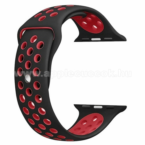 APPLE Watch Series 3 42mm Okosóra szíj lyukacsos, légáteresztő - FEKETE / PIROS - Apple Watch Series 1/2/3 - 42mm