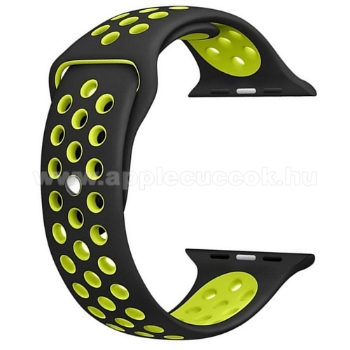 APPLE Watch Series 4 40mm Okosóra szíj lyukacsos, légáteresztő - FEKETE / SÁRGA - Apple Watch Series 1/2/3 38mm / APPLE Watch Series 4 40mm / APPLE Watch Series 5 40mm