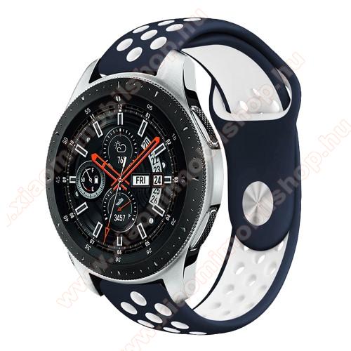 Xiaomi Amazfit GTR 47mmOkosóra szíj lyukacsos, légáteresztő - KÉK / FEHÉR - 22mm széles - SAMSUNG Galaxy Watch 46mm / SAMSUNG Gear S3 Classic / SAMSUNG Gear S3 Frontier