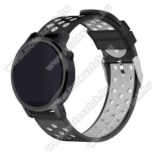 ZTE Watch GTOkosóra szíj lyukacsos, légáteresztő, szilikon - 236mm hosszú, 22mm széles - FEKETE / SZÜRKE - HUAWEI Watch GT / HUAWEI Watch 2 Pro / Honor Watch Magic / HUAWEI Watch GT 2 46mm