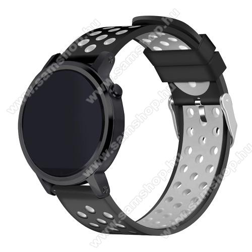 SAMSUNG SM-R770 Gear S3 ClassicOkosóra szíj lyukacsos, légáteresztő, szilikon - 236mm hosszú, 22mm széles - FEKETE / SZÜRKE - HUAWEI Watch GT / HUAWEI Watch 2 Pro / Honor Watch Magic / HUAWEI Watch GT 2 46mm
