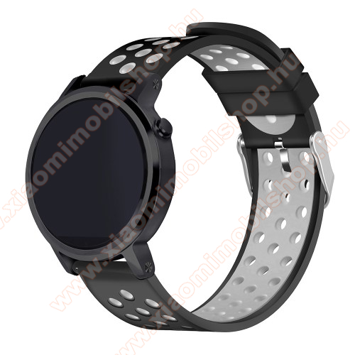 Okosóra szíj lyukacsos, légáteresztő, szilikon - 236mm hosszú, 22mm széles - FEKETE / SZÜRKE - HUAWEI Watch GT / HUAWEI Watch 2 Pro / Honor Watch Magic / HUAWEI Watch GT 2 46mm
