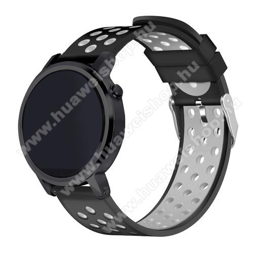 HUAWEI Watch GT 2eOkosóra szíj lyukacsos, légáteresztő, szilikon - 236mm hosszú, 22mm széles - FEKETE / SZÜRKE - HUAWEI Watch GT / HUAWEI Watch 2 Pro / Honor Watch Magic / HUAWEI Watch GT 2 46mm