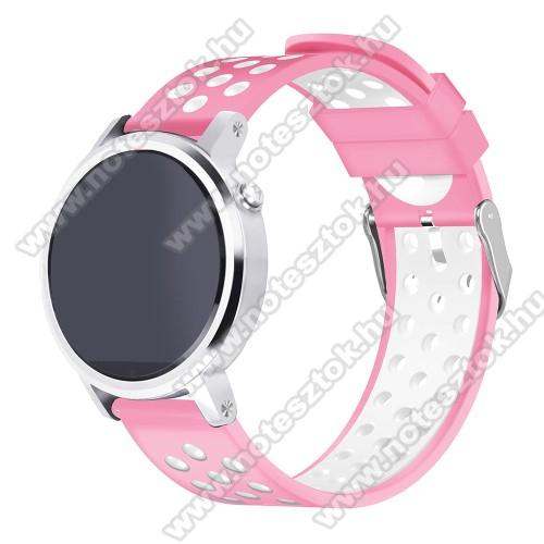 Xiaomi Mi Watch (FOR GLOBAL MARKET)Okosóra szíj lyukacsos, légáteresztő, szilikon - 236mm hosszú, 22mm széles - RÓZSASZÍN / FEHÉR - HUAWEI Watch GT / HUAWEI Watch 2 Pro / Honor Watch Magic / HUAWEI Watch GT 2 46mm