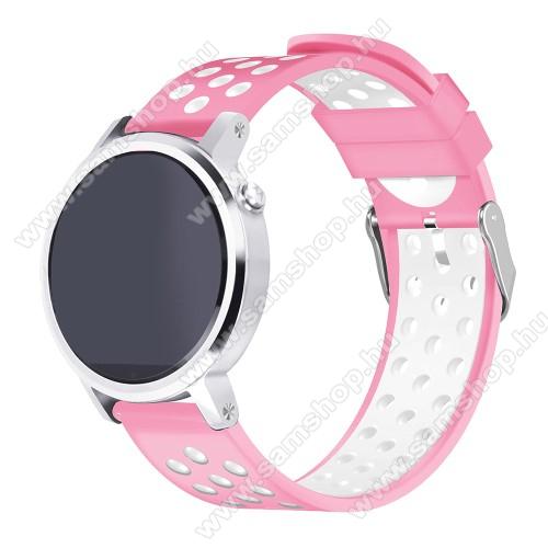 SAMSUNG SM-R760 Gear S3 FrontierOkosóra szíj lyukacsos, légáteresztő, szilikon - 236mm hosszú, 22mm széles - RÓZSASZÍN / FEHÉR - HUAWEI Watch GT / HUAWEI Watch 2 Pro / Honor Watch Magic / HUAWEI Watch GT 2 46mm