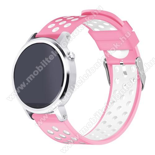 Xiaomi Watch ColorOkosóra szíj lyukacsos, légáteresztő, szilikon - 236mm hosszú, 22mm széles - RÓZSASZÍN / FEHÉR - HUAWEI Watch GT / HUAWEI Watch 2 Pro / Honor Watch Magic / HUAWEI Watch GT 2 46mm