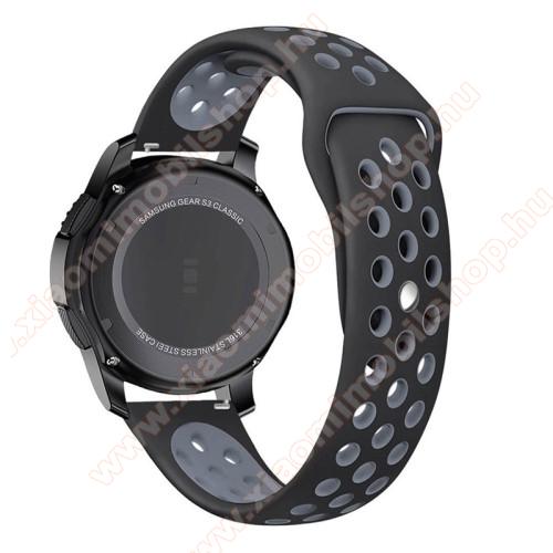 Okosóra szíj lyukacsos, légáteresztő - SZÜRKE / FEKETE - SAMSUNG Galaxy Watch 46mm / SAMSUNG Gear S3 Classic / SAMSUNG Gear S3 Frontier