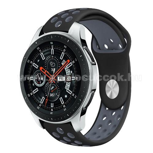 Okosóra szíj lyukacsos, légáteresztő - SZÜRKE / FEKETE - 22mm széles - SAMSUNG Galaxy Watch 46mm / SAMSUNG Gear S3 Classic / SAMSUNG Gear S3 Frontier