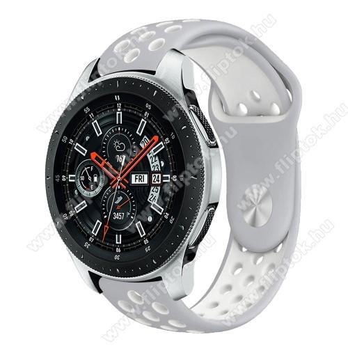 Xiaomi Watch ColorOkosóra szíj lyukacsos, légáteresztő - SZÜRKE / FEHÉR - 115 + 95mm hosszú, 22mm széles - SAMSUNG Galaxy Watch 46mm / SAMSUNG Gear S3 Classic / SAMSUNG Gear S3 Frontier