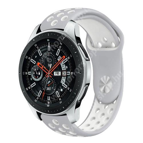 HUAWEI Honor MagicWatch 2 46mm Okosóra szíj lyukacsos, légáteresztő - SZÜRKE / FEHÉR - 115 + 95mm hosszú, 22mm széles - SAMSUNG Galaxy Watch 46mm / SAMSUNG Gear S3 Classic / SAMSUNG Gear S3 Frontier