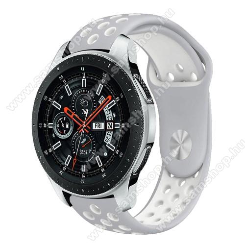 SAMSUNG SM-R760 Gear S3 FrontierOkosóra szíj lyukacsos, légáteresztő - SZÜRKE / FEHÉR - 115 + 95mm hosszú, 22mm széles - SAMSUNG Galaxy Watch 46mm / SAMSUNG Gear S3 Classic / SAMSUNG Gear S3 Frontier