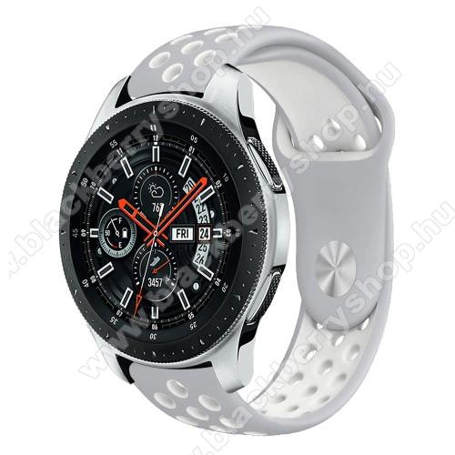 Okosóra szíj lyukacsos, légáteresztő - SZÜRKE / FEHÉR - 115 + 95mm hosszú, 22mm széles - SAMSUNG Galaxy Watch 46mm / SAMSUNG Gear S3 Classic / SAMSUNG Gear S3 Frontier