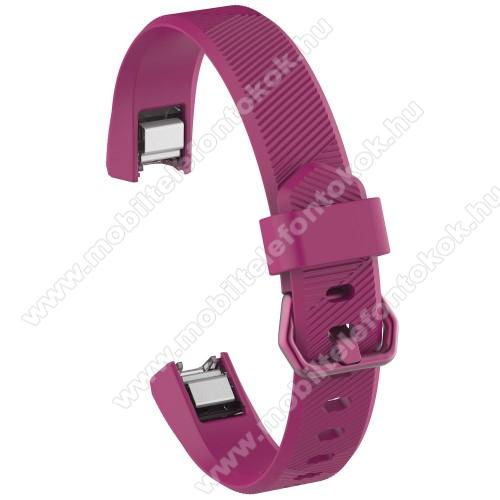 Okosóra szíj - MAGENTA - szilikon, Twill mintás, 93 + 70mm hosszú, 15mm széles - Fitbit Alta HR