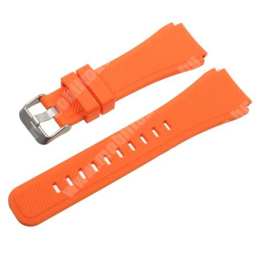 Okosóra szíj - NARANCS  - szilikon - 120mm + 85mm hosszú, 22mm széles - SAMSUNG Galaxy Watch 46mm / SAMSUNG Gear S3 Classic / SAMSUNG Gear S3 Frontier