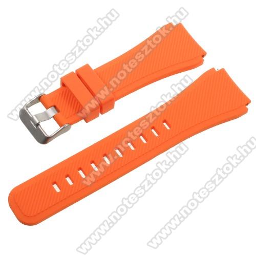 ZTE Watch GTOkosóra szíj - NARANCS  - szilikon - 120mm + 85mm hosszú, 22mm széles - SAMSUNG Galaxy Watch 46mm / SAMSUNG Gear S3 Classic / SAMSUNG Gear S3 Frontier