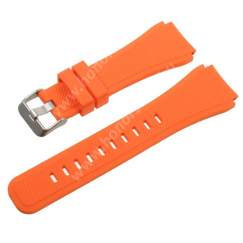 HUAWEI Watch GT 2 Pro 46mm Okosóra szíj - NARANCS  - szilikon - 123mm + 95mm hosszú, 22mm széles - SAMSUNG Galaxy Watch 46mm / SAMSUNG Gear S3 Classic / SAMSUNG Gear S3 Frontier